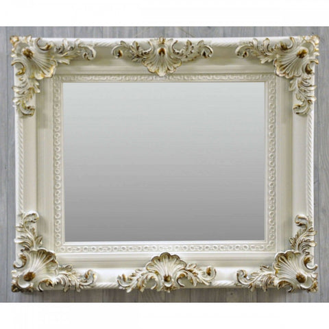 24Inx36In White Swept Frame Bevelled Mirror