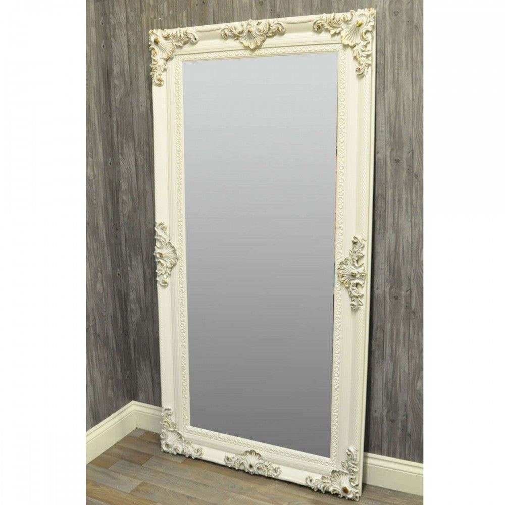 66 In x 28 In White Swept Frame Mirror