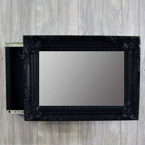 44cm X 32cm Matt Black Swept Mirror