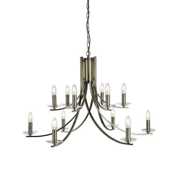 Ascona 12 Light Fitting With Clear Glass Sconces (+ More Colour)
