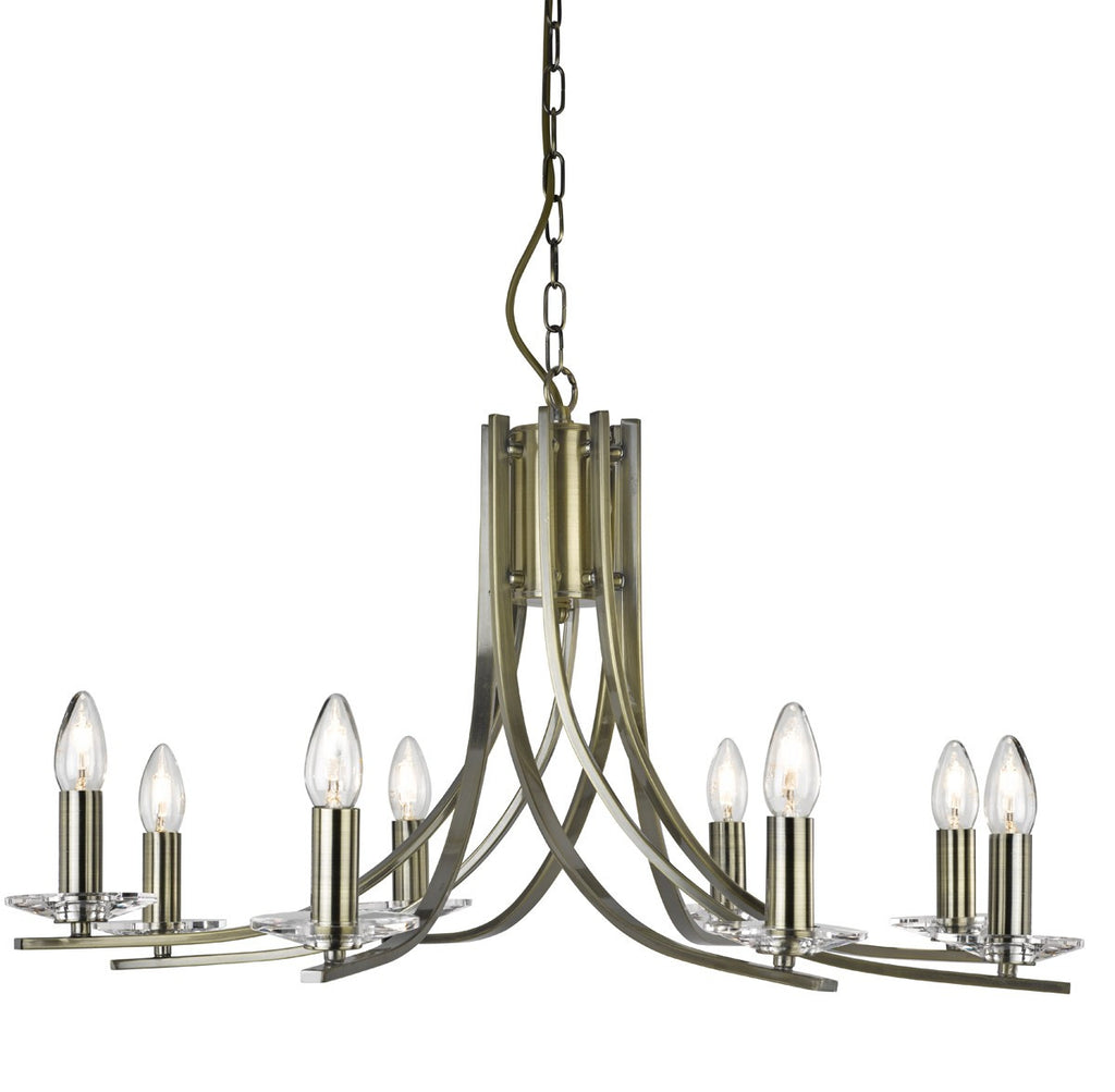 Ascona 8 Light Fitting With Clear Glass Sconces (+ More Colour)