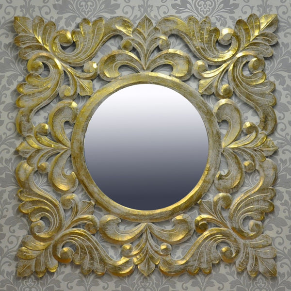 120 x 120m Handcarved Wooden Mirror (+More Colours)
