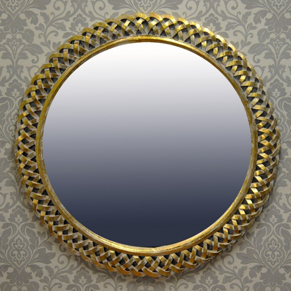 110 x 110cm Gold Leaf Hand carved Wood Mirror