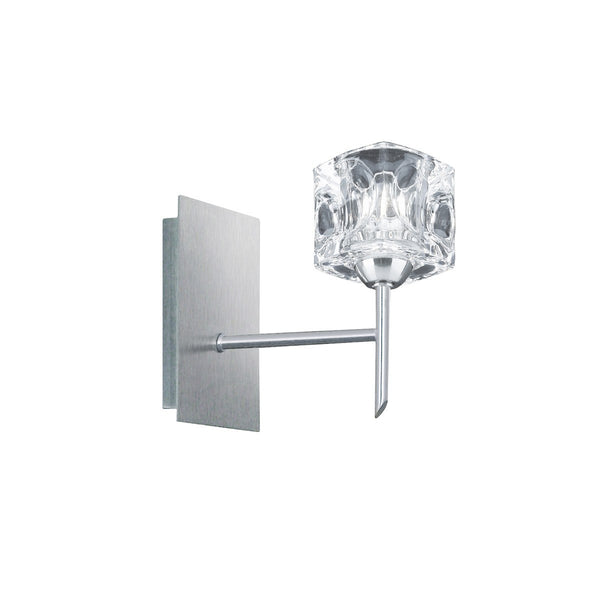 Ice Cube Satin Silver Wall Light With Moulded Ice Cube Glass