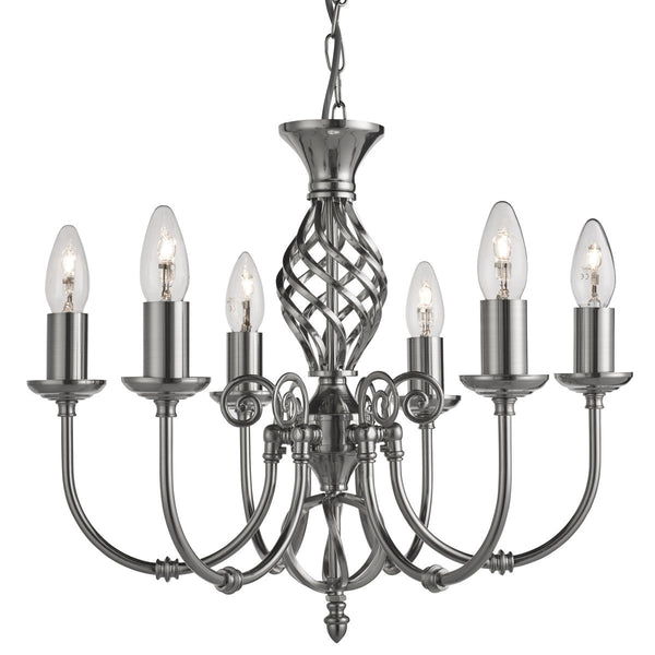 Zanzibar Satin Silver 6 Light Fitting With Ornate Twisted Column