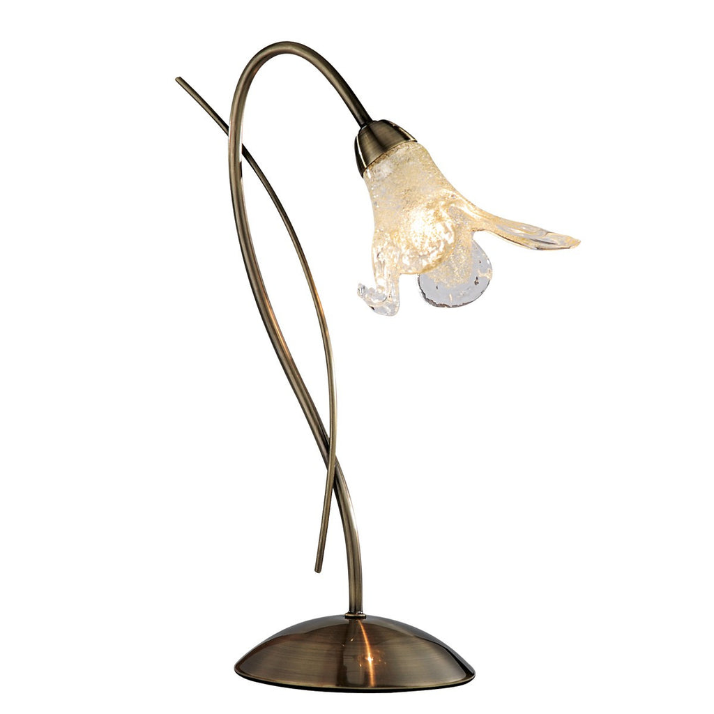Lily Antique Brass Table Lamp With Amber & Frosted Petal Glass