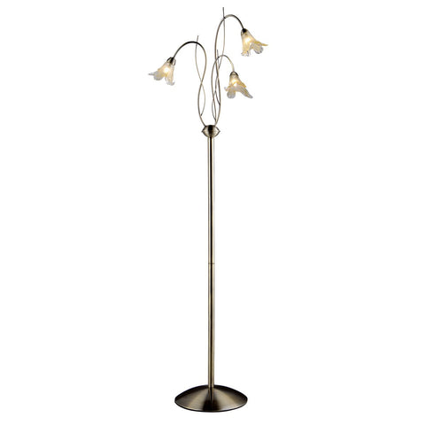 Lily Antique Brass 3 Light Floor Lamp With Amber & Frosted Petal Glass