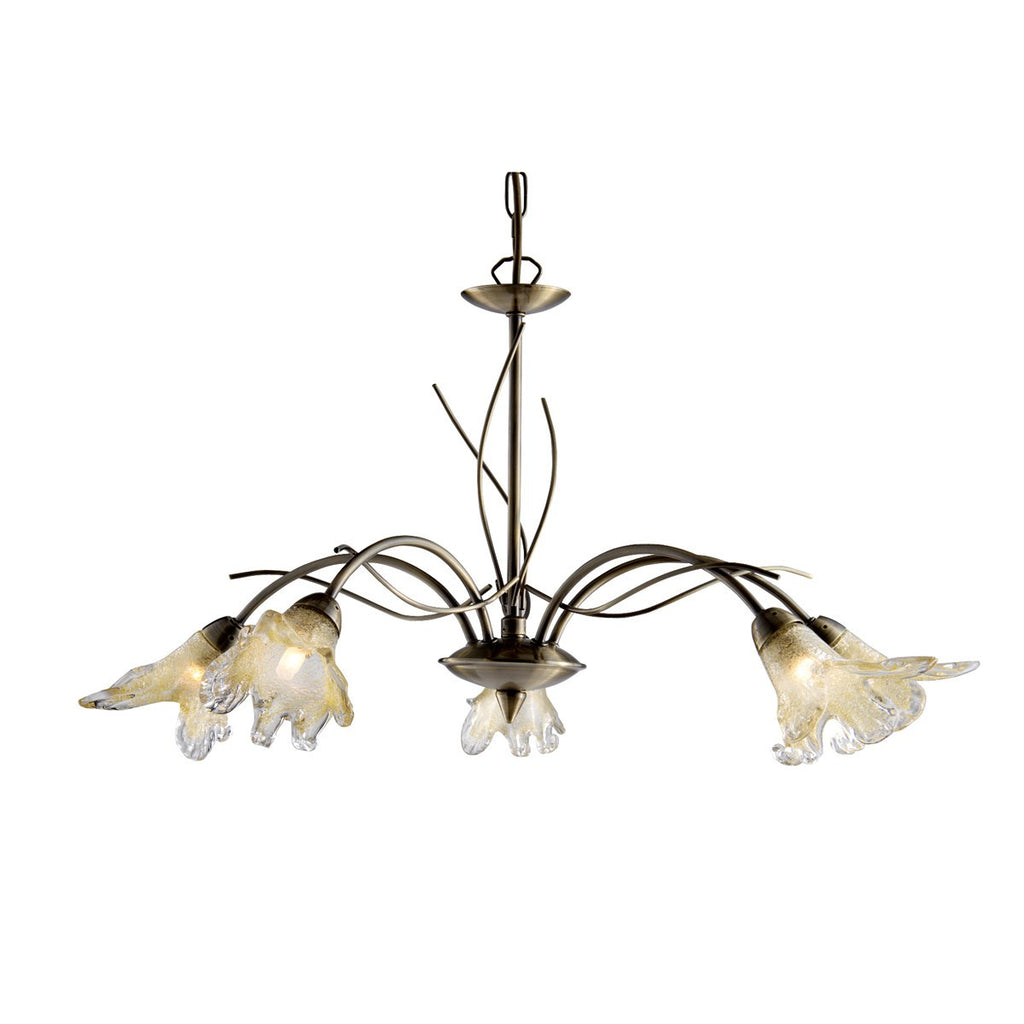 Lily Antique Brass 5 Light Fitting With Amber & Frosted Petal Glass