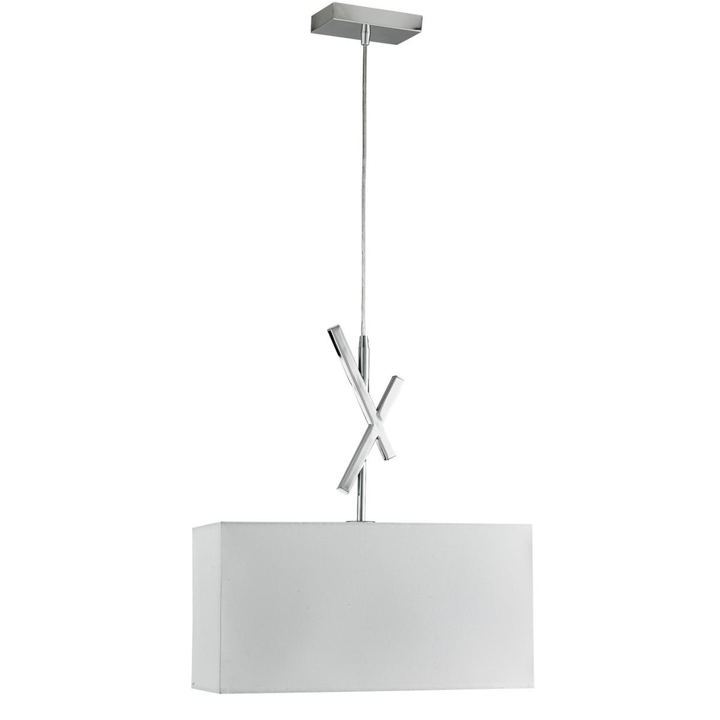 Acute Chrome Pendant Light With White Rectangle Shade