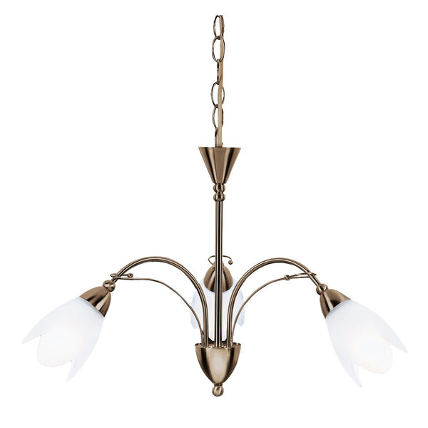 Petal Antique Brass 3 Light Fitting With Opal Glass Petal Shades