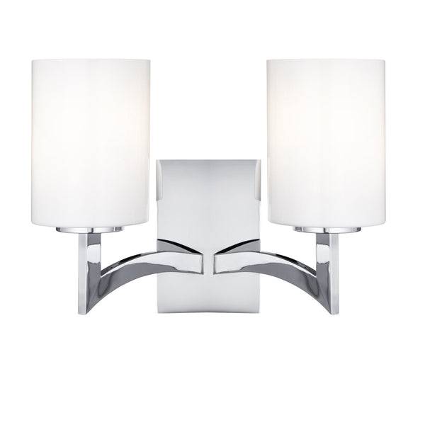 Gina Chrome 2 Light Wall Bracket With White Glass Cylinder Shades