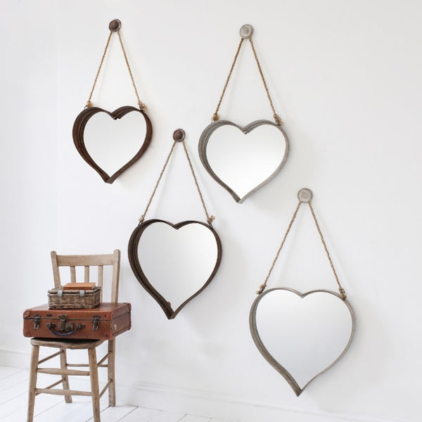 "Metal Heart Mirror 20X20"" & 18X16"" Set Of 2"