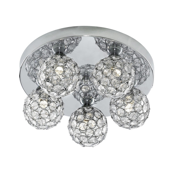 Luci Chrome 5 Light Fitting With Clear Glass Shades