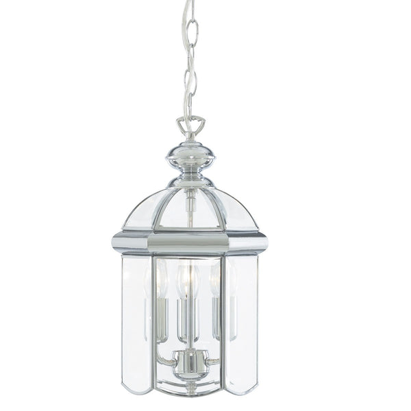 3 LIGHT LANTERN WITH POLISHED BEVELLED DOMED GLASS SHADE (+More Colours)