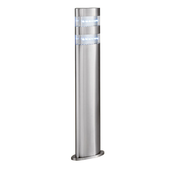 Satin Silver Ip44 24 Led Outdoor Post Light With Clear Diffuser