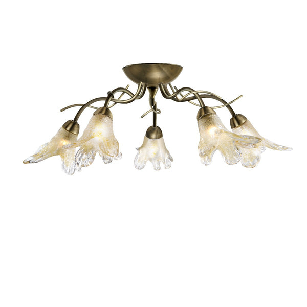 Lily Antique Brass 5 Light Semi-Flush With Amber & Frosted Petal Glass