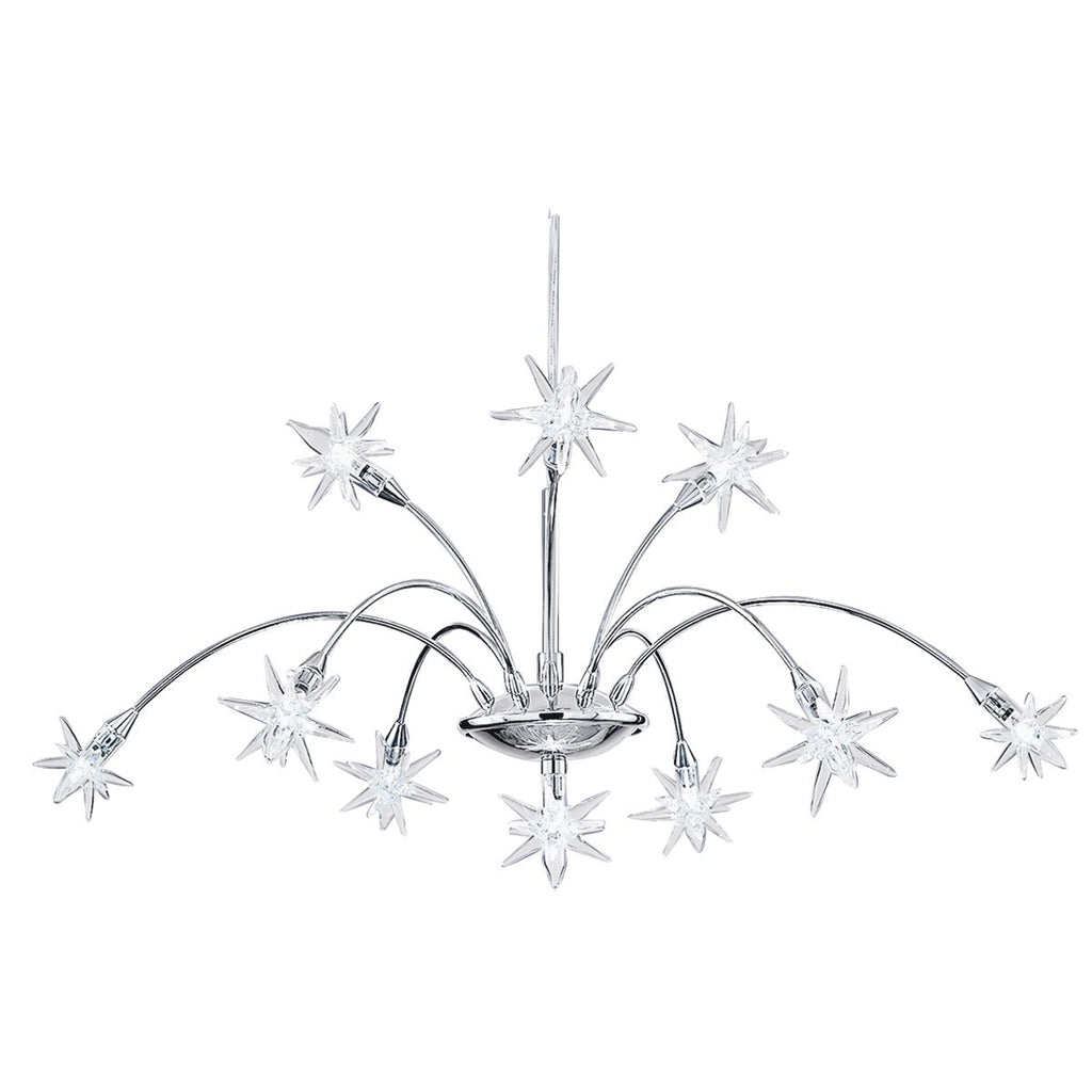 Stars Chrome 10 Light Fitting With Clear Star Glass Decoration