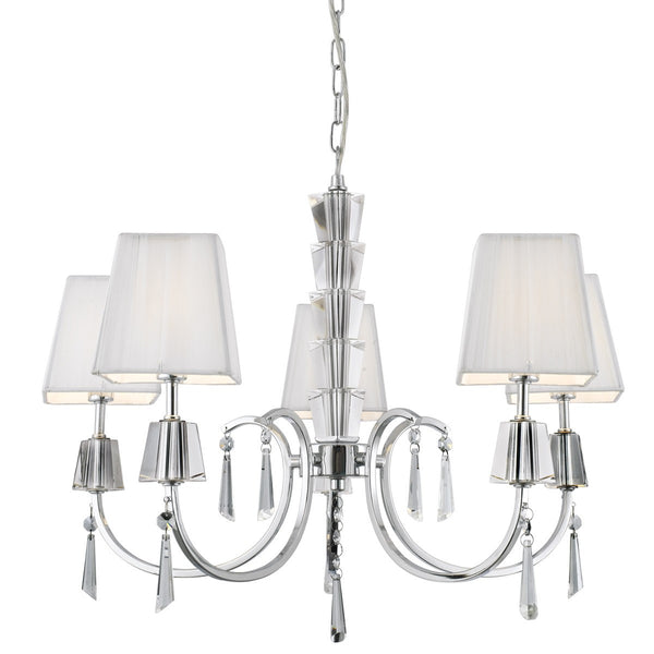 Portico Chrome 5 Light Fitting With Crystal Drops & White String Shades