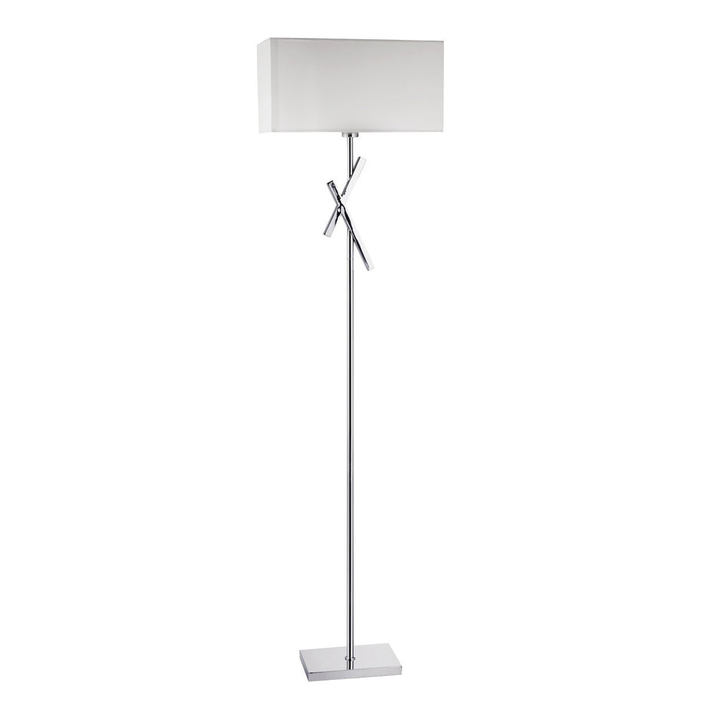 Acute Chrome Floor Lamp With White Rectangle Shade