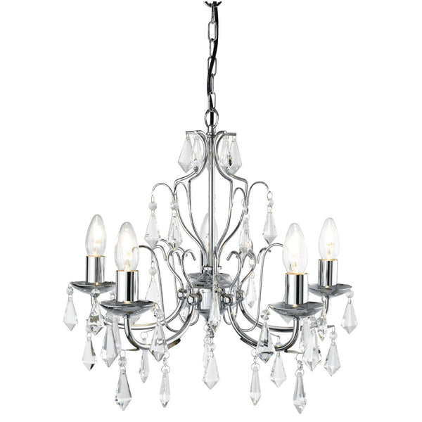 Martina Chrome 5 Light Chandelier With Crystal Trimmings