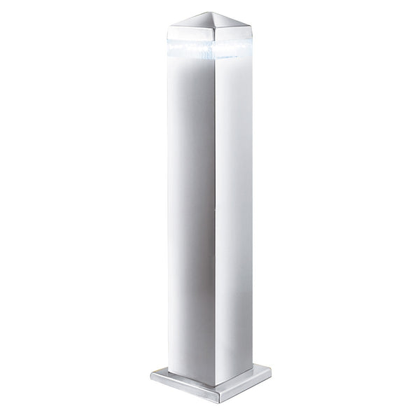 Satin Silver Ip44 16 Led Outdoor Post Light With Clear Diffuser