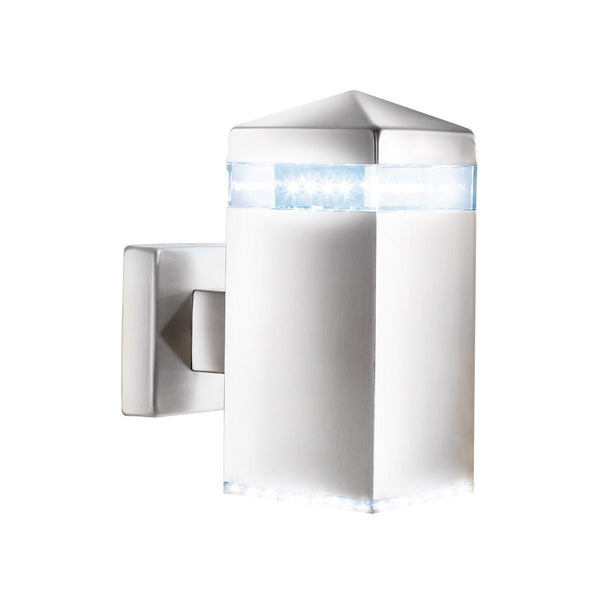 Satin Silver Ip44 32 Led Outdoor Wall Light With Clear Diffuser