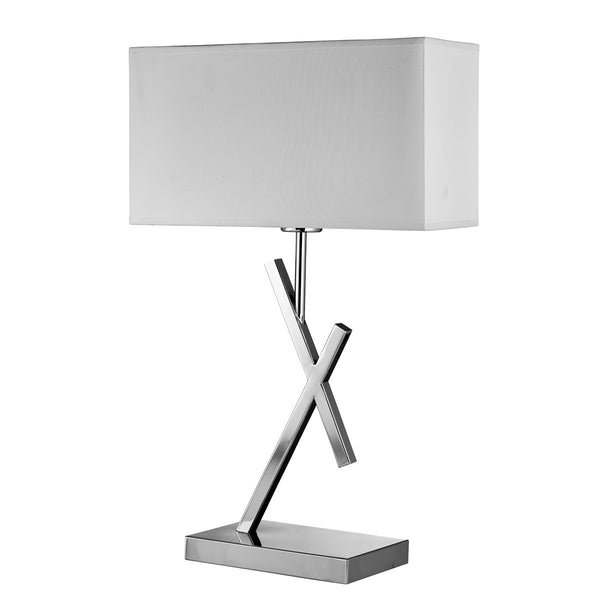 Acute Chrome Table Lamp With White Rectangle Shade