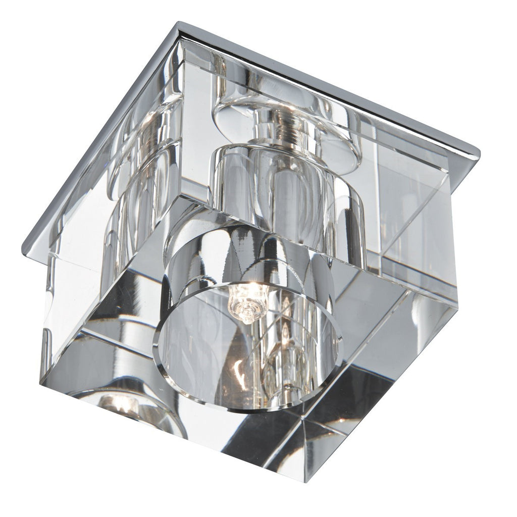 Chrome Surface Downlighter With Clear Ice Cube Glass