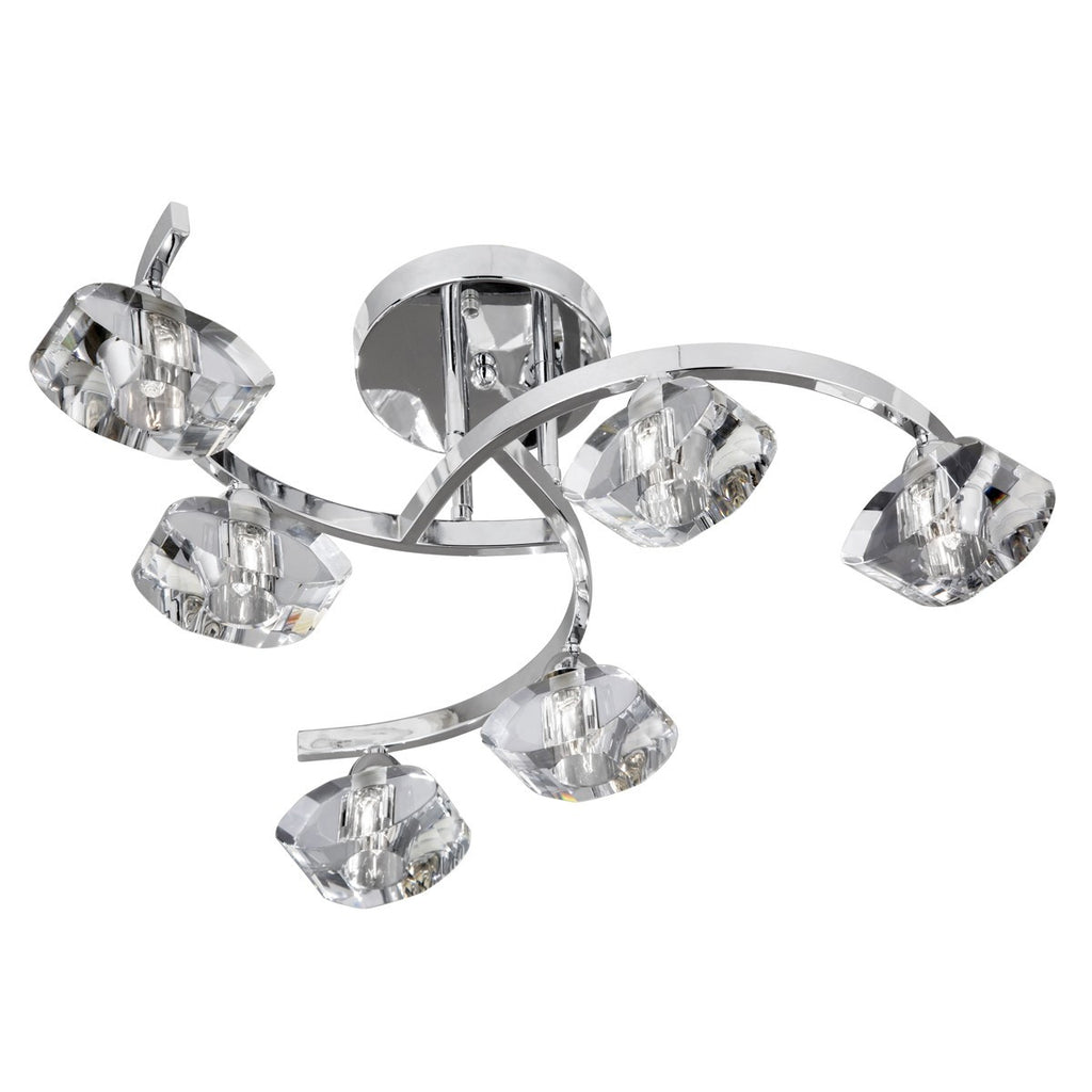 Ice Chrome 6 Light Curved Semi-Flush With Clear Shaped Glass