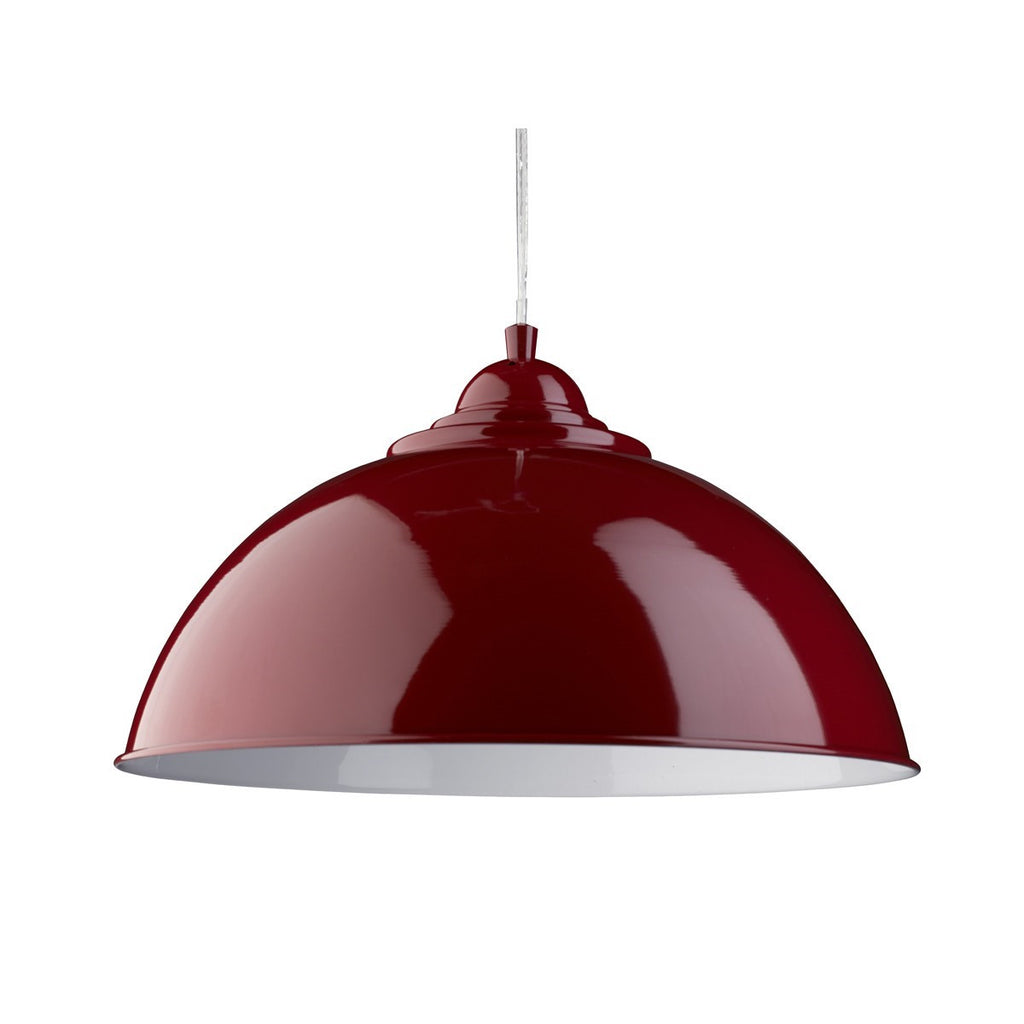 Sanford Red Half Dome Pendant Light With White Inner