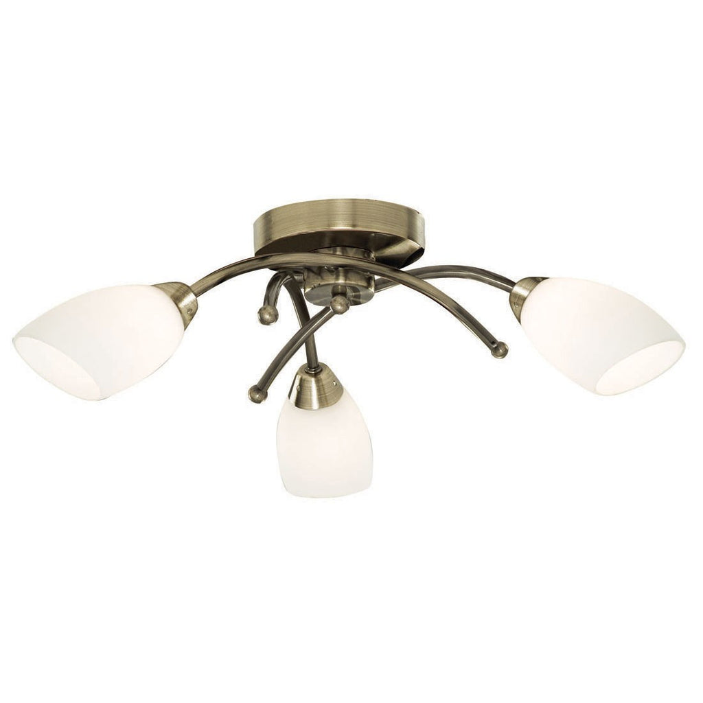 Opera 3 Light Fitting With Opal Glass Shades