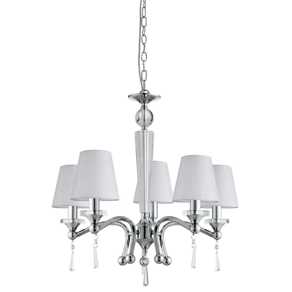 Brazil Chrome 5 Light Ceiling Fitting With Clear Glass & Speckled Shades