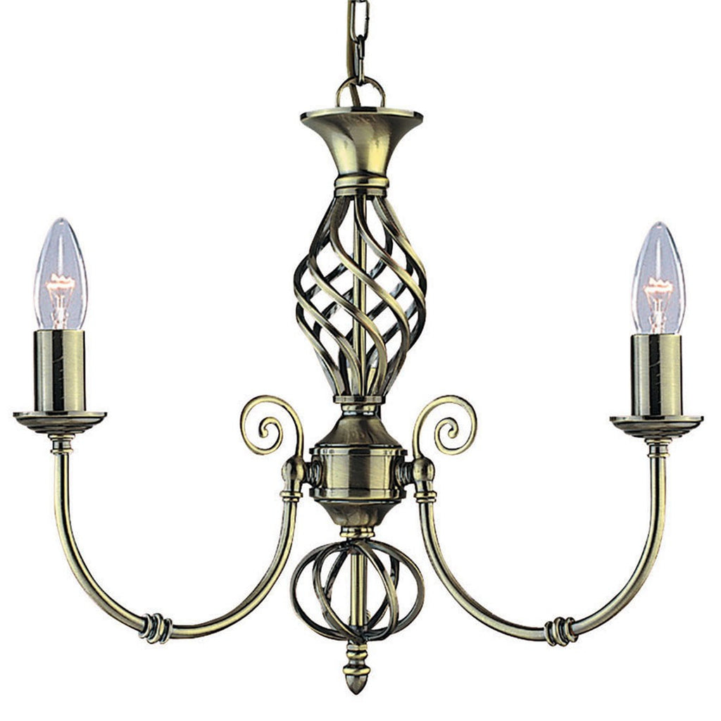 Zanzibar Antique Brass 3 Light Fitting With Ornate Twisted Column