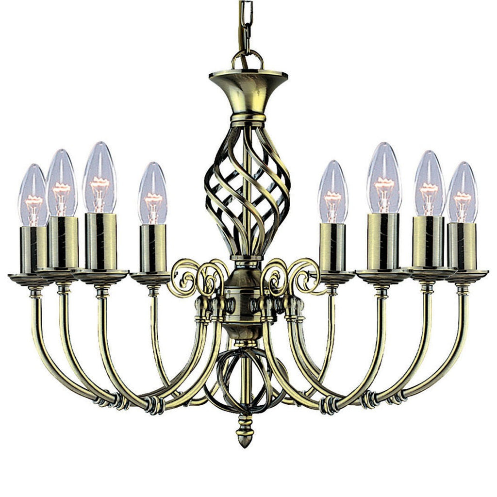 Zanzibar Antique Brass 8 Light Fitting With Ornate Twisted Column
