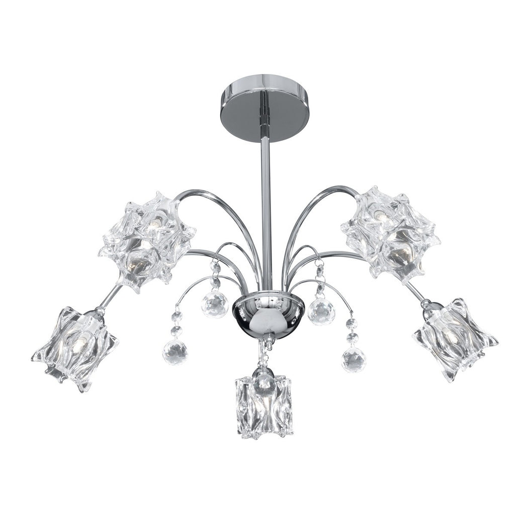 Fabia Chrome 5 Light Semi-Flush With Clear Moulded Crystal Glass Shades