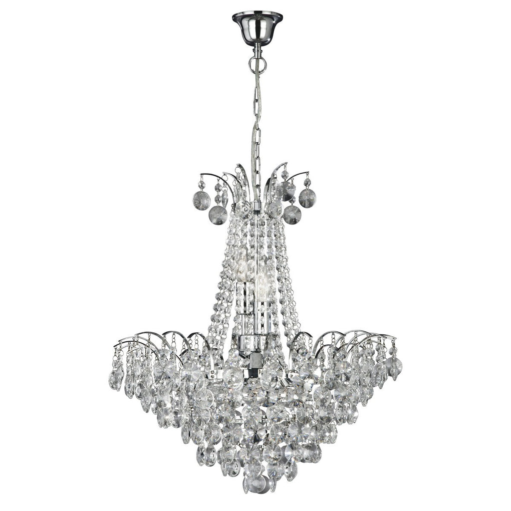 Limoges Chrome 6 Light Chandelier With Crystal Strings & Sunflower Beads