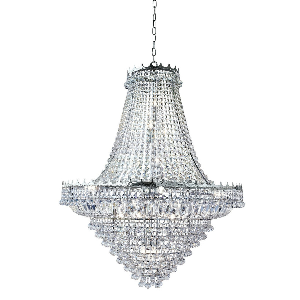 Versailles Chrome 19 Light Chandelier Trimmed With Crystal (+More Colours)