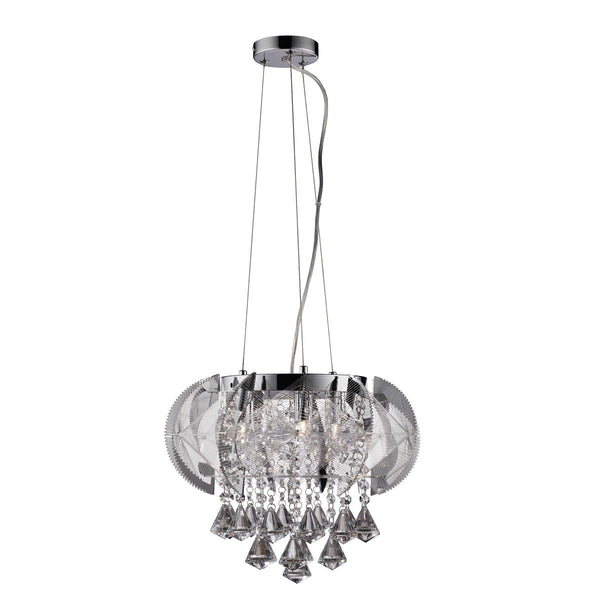 Fountaine Chrome 5 Light Fitting With Crystal Drops & Weave Net Trim