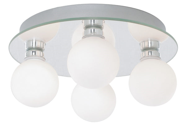 Globe Ip44 Chrome 4 Light Flush Fitting With Opal Glass Shades