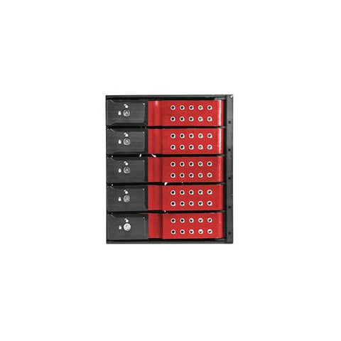 "iStarUSA BPN-DE350SS-RED 3x5.25"" to 5x3.5"" SAS/SATA 6.0 Gb/s Trayless Hot-Swap Cage (Red/Black)"