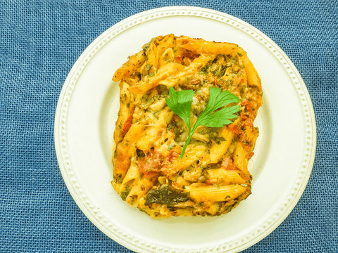 Baked Pasta with Tomatoes and  Shiitake Mushrooms