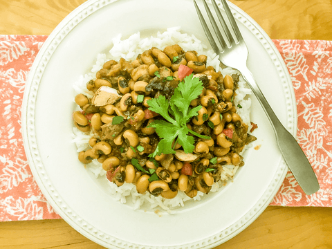Black Eyed Beans with Mushrooms over Rice (Lohbia aur Khumbi)