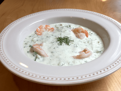 Chilled Cucumber Soup with Shrimp