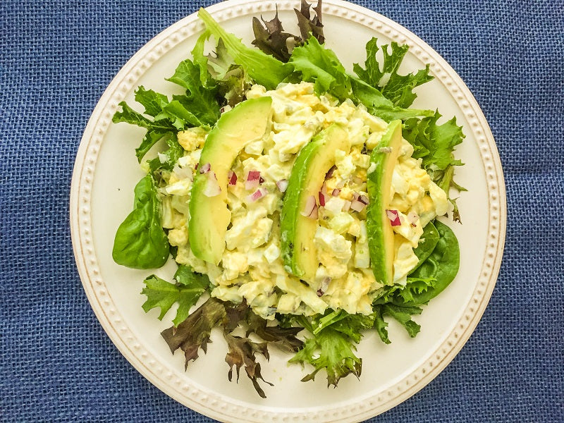 Curried Egg Salad with  Mixed Greens and Avocado