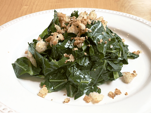 Greens with Crisped Bread Crumbs