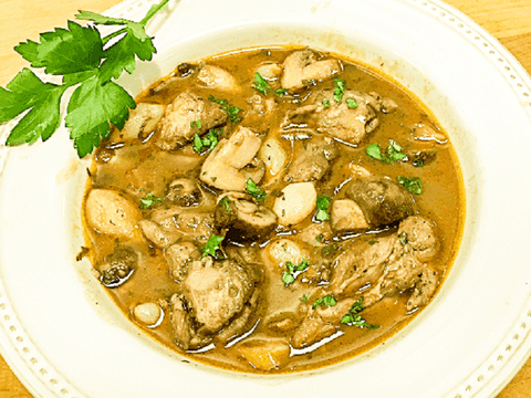 Hearty Chicken Stew in Red Wine Sauce (Coq au Vin)