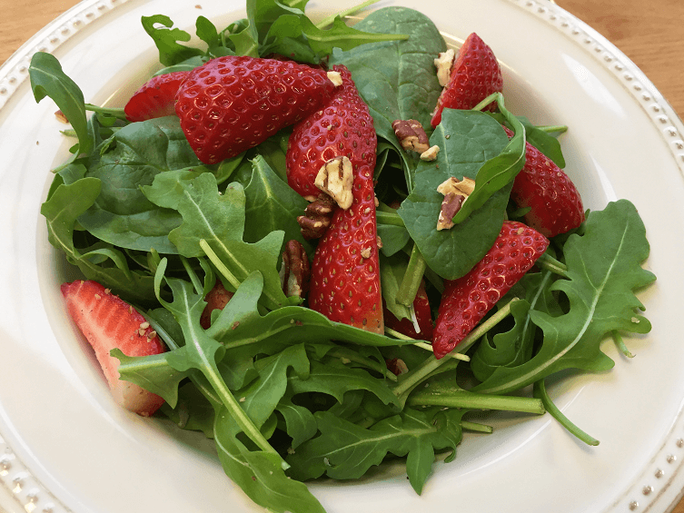 Spinach-Arugula Salad with Strawberries and Pecans