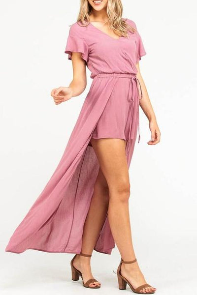 Solid Layered Romper Dress