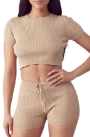 Cable Knit Crop Crew Neck TOP