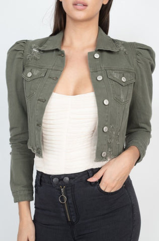 Distressed Puff Sleeve Jacket